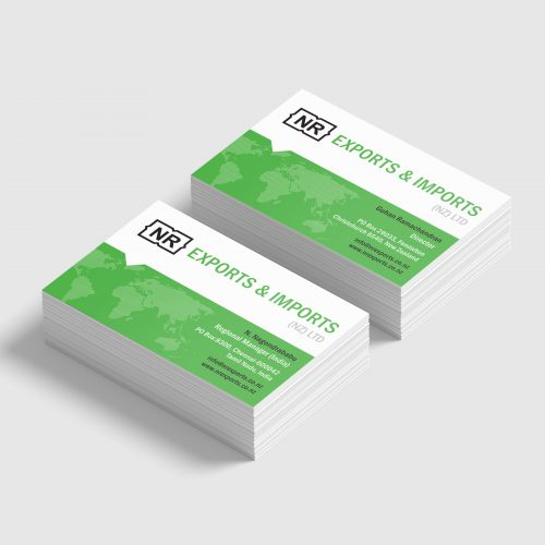 NR Exports business cards