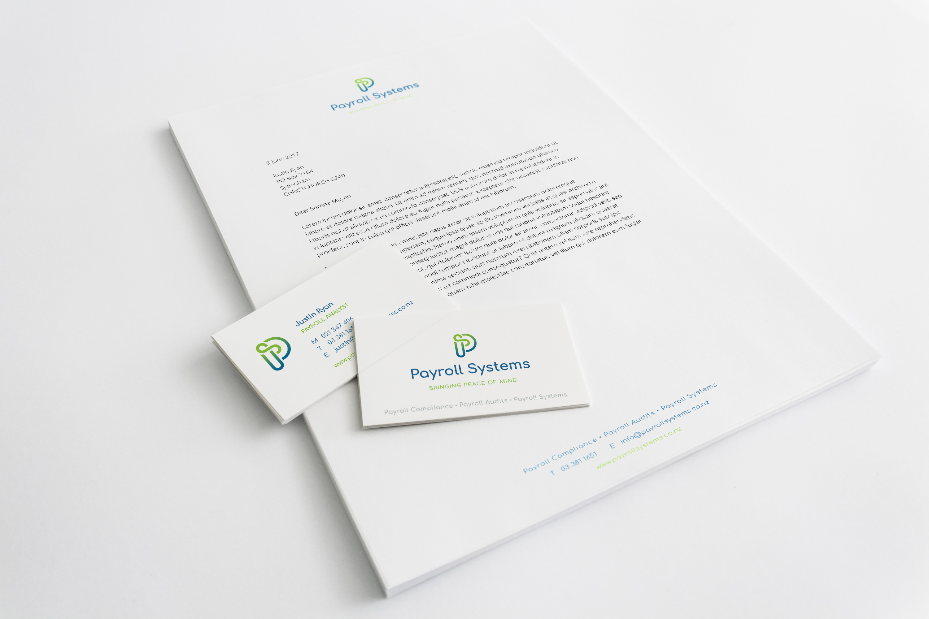 Payroll Systems letterhead and business card